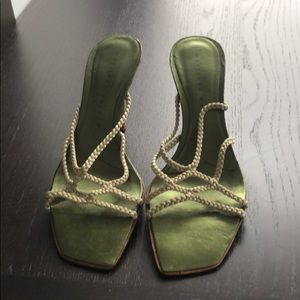 Used once strappy green sandal 3.5inch heel